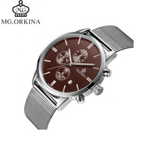 Newest ORKINA 망 Watches Top Brand Luxury Silver Mesh Belt Watch Chronograph Men's Watch 남성 Clock