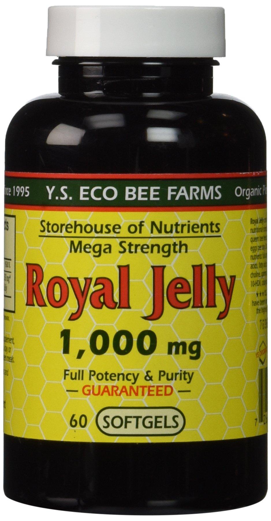 Y.S. Eco Bee Farms Royal Jelly Mega Strength 1,000 mg 60 Sgels