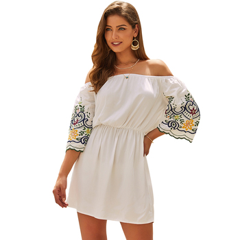 Customizable Cotton Floral Half Sleeve Off-Shoulder Mini Casual Embroidered Dress For Woman