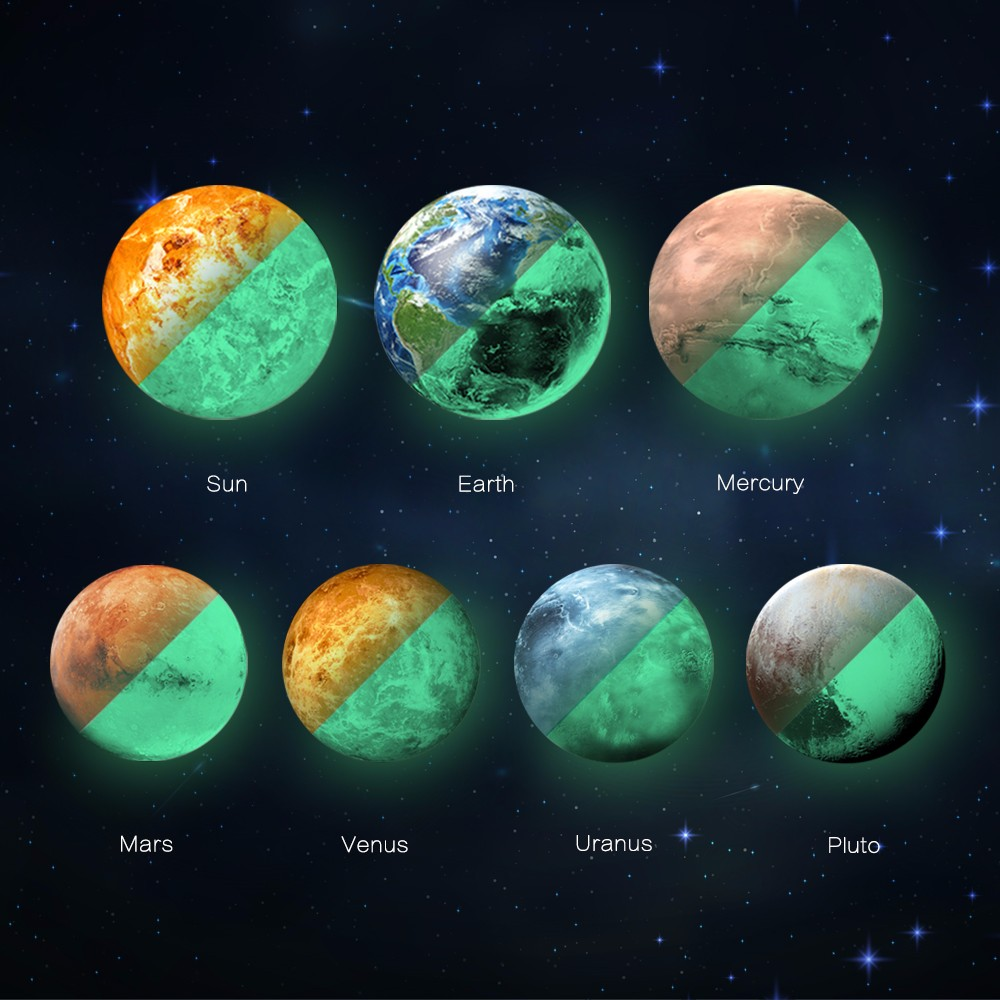 the 7 solar planets 3d luminous glow in the dark stickers for kids