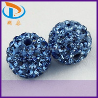 Wholesale 8mm/10mm/12mm/14mm Blue Color Round Clay Rhinestone Disco Pave Loose Shamballa Ball Beads
