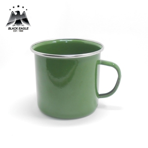 Solid customized color enamel tea mug with stainless steel rim