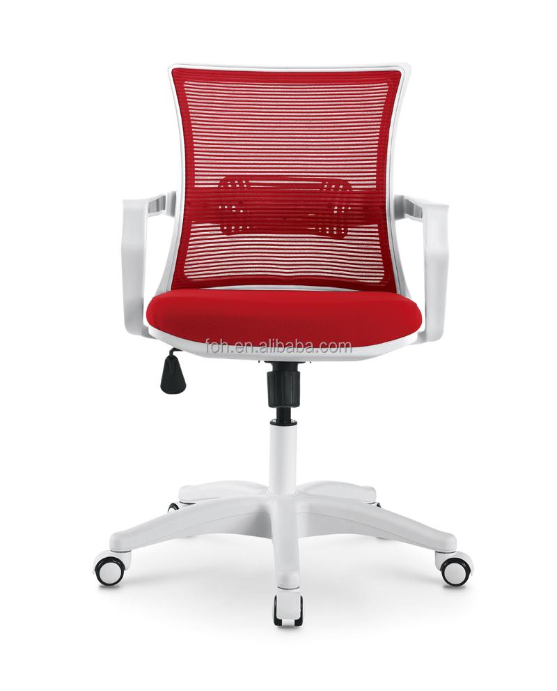 Bon Retour Reste Rouge Mesh Chaise De Bureau Avec Moderne Blanc Accoudoir Et Base FOH