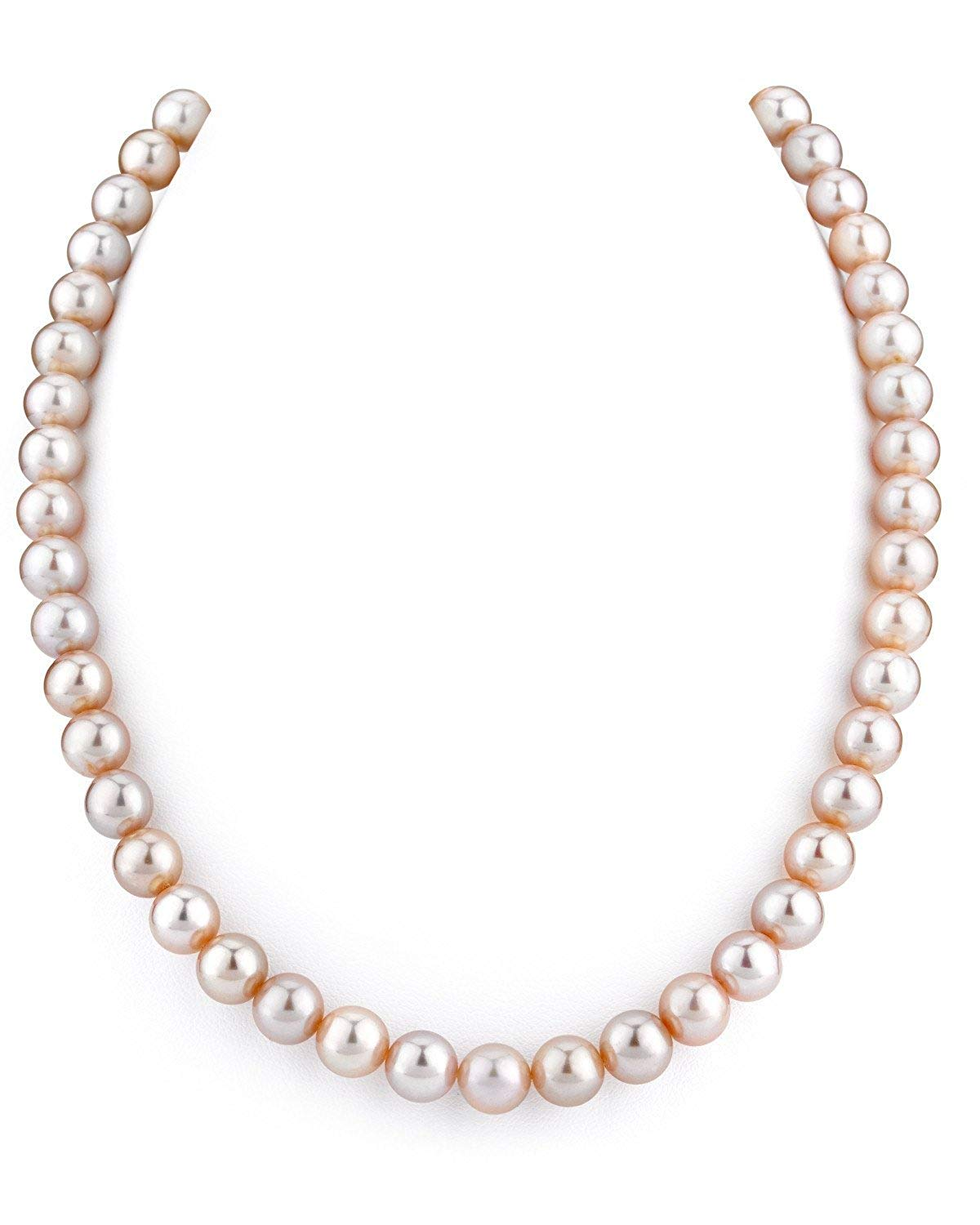 THE PEARL SOURCE 14K Gold 7-8mm AAA Quality Peach Freshwater Cultured Pearl Necklace for Women in 36 Opera Length