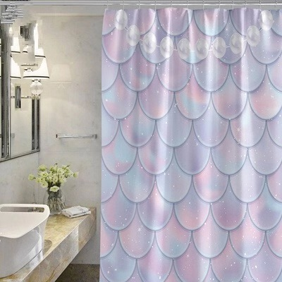 Mermaid Shower Curtain Purple Gradient Shower Curtain, Fish Scale Pearl Cartoon Girl Personality Creative Waterproof Polyester /