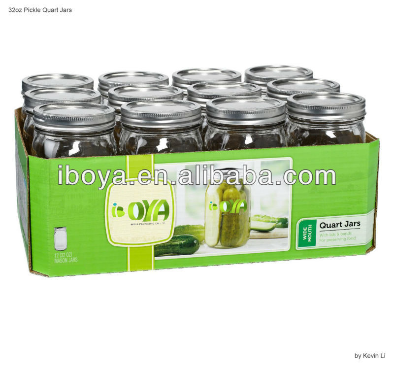 Wide Mouth Quart Jars with Lids Set of 12