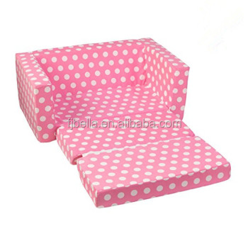 Foam Child Sofa Lounger Folding Bed Lightweight Kid Party With White Polka Dots