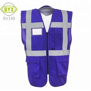 Blue volunterr safety vest with pocket and reflective