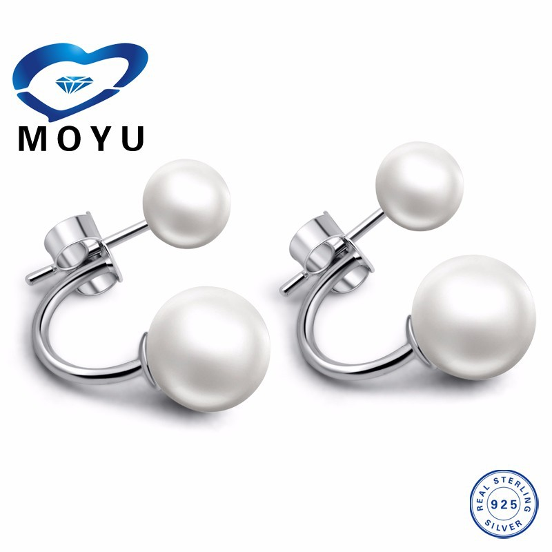 Fast delivery Stock double side pearl earring 925 Silver earring free shipping