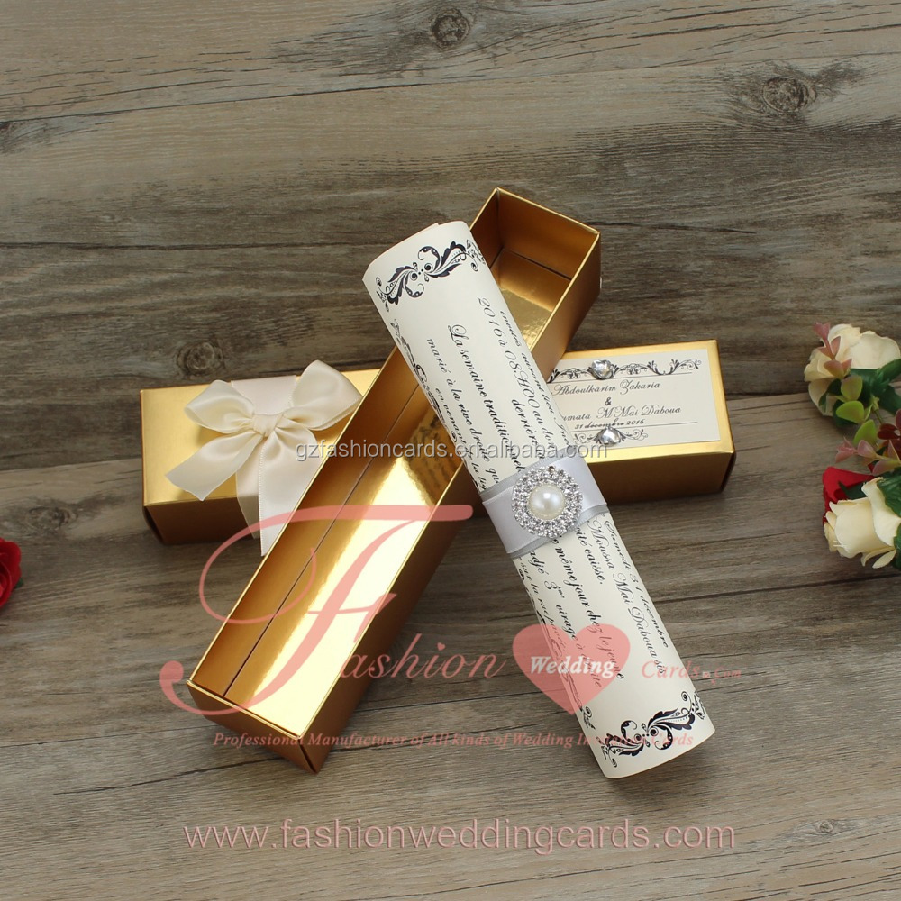 Wholesale Unique Luxury Golden Scroll Wedding Invitations Boxes ...