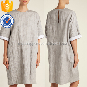 Light-grey Crinkle Linen and Silk Blend T Shirt Dress OEM/ODM Women Apparel Clothing Garment Wholesaler Garment Ropa Mujer