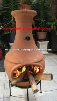 Chi 0777l Terracotta Red Clay Chiminea Stove With Iron Stand