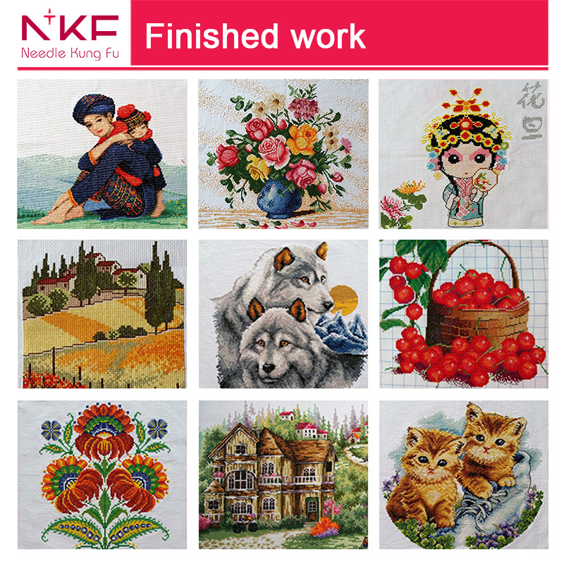 NKF Red leaves hand made cross stitch