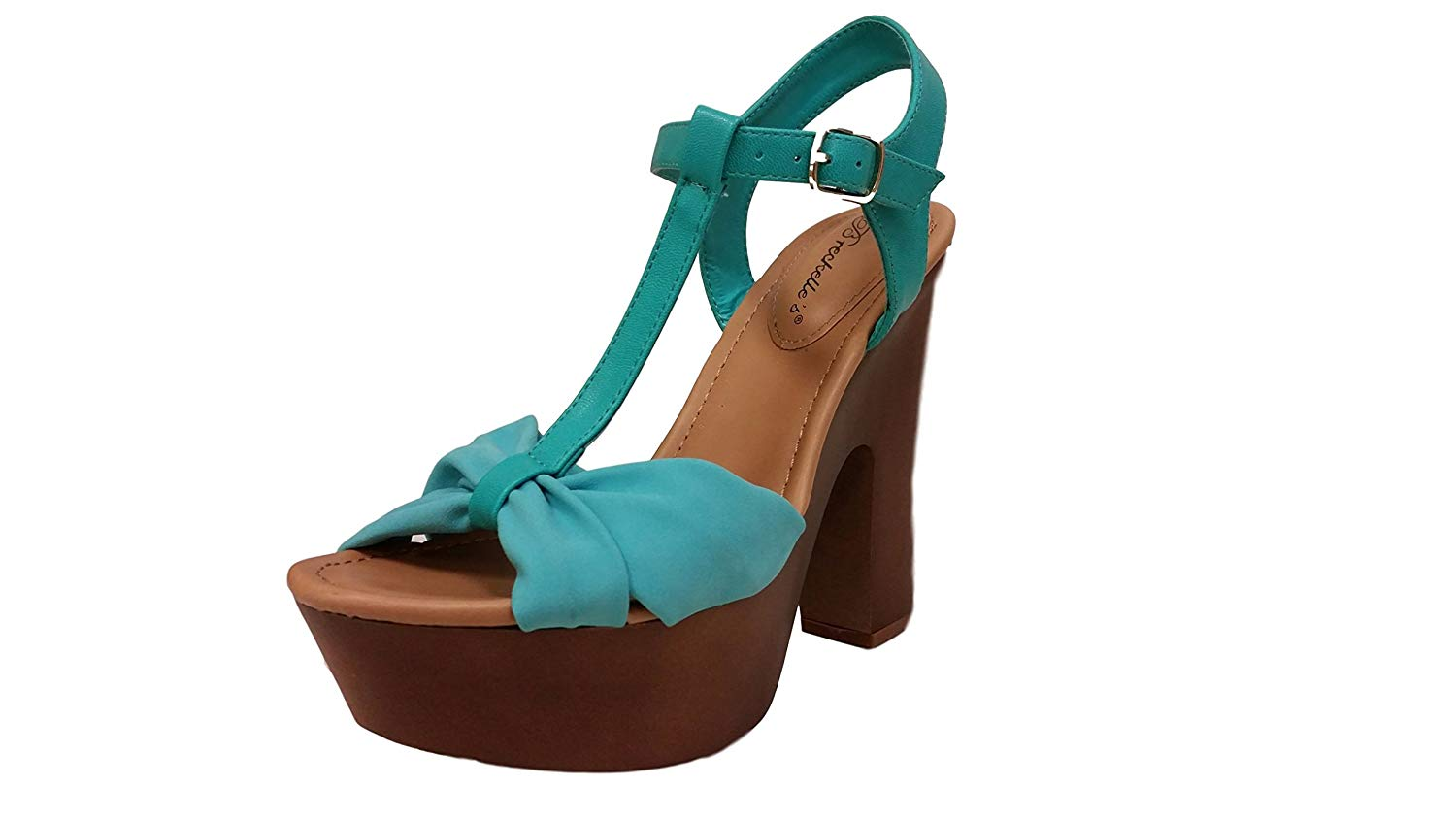 a73a0fc3aaef Get Quotations · Breckelle s Women s T-Strap Strappy Bow Open Toe Chunky  Platform Heel Sandal