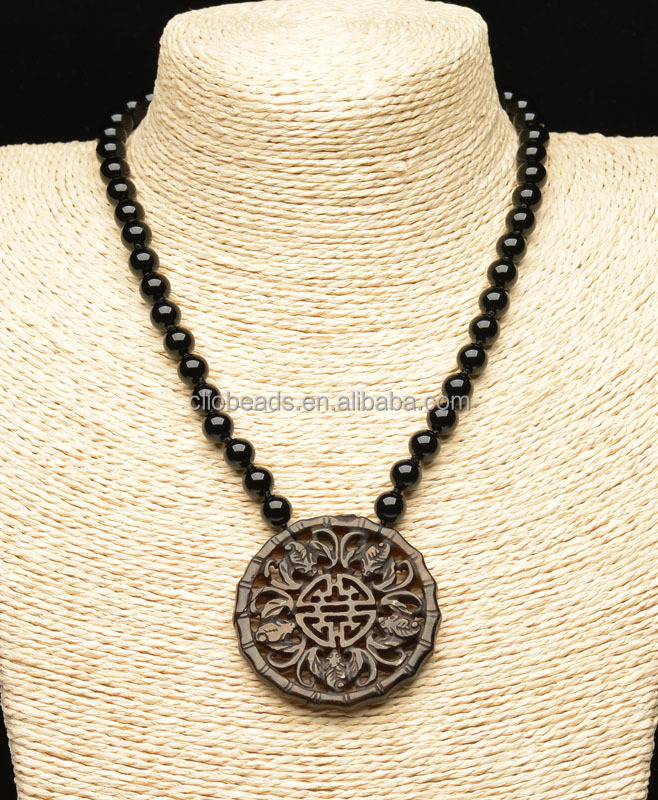 Black Onyx Beads and Antique New Jade Carved Pendant Necklace, Brass Lobster Clasp with 2 Inches Tail Chain