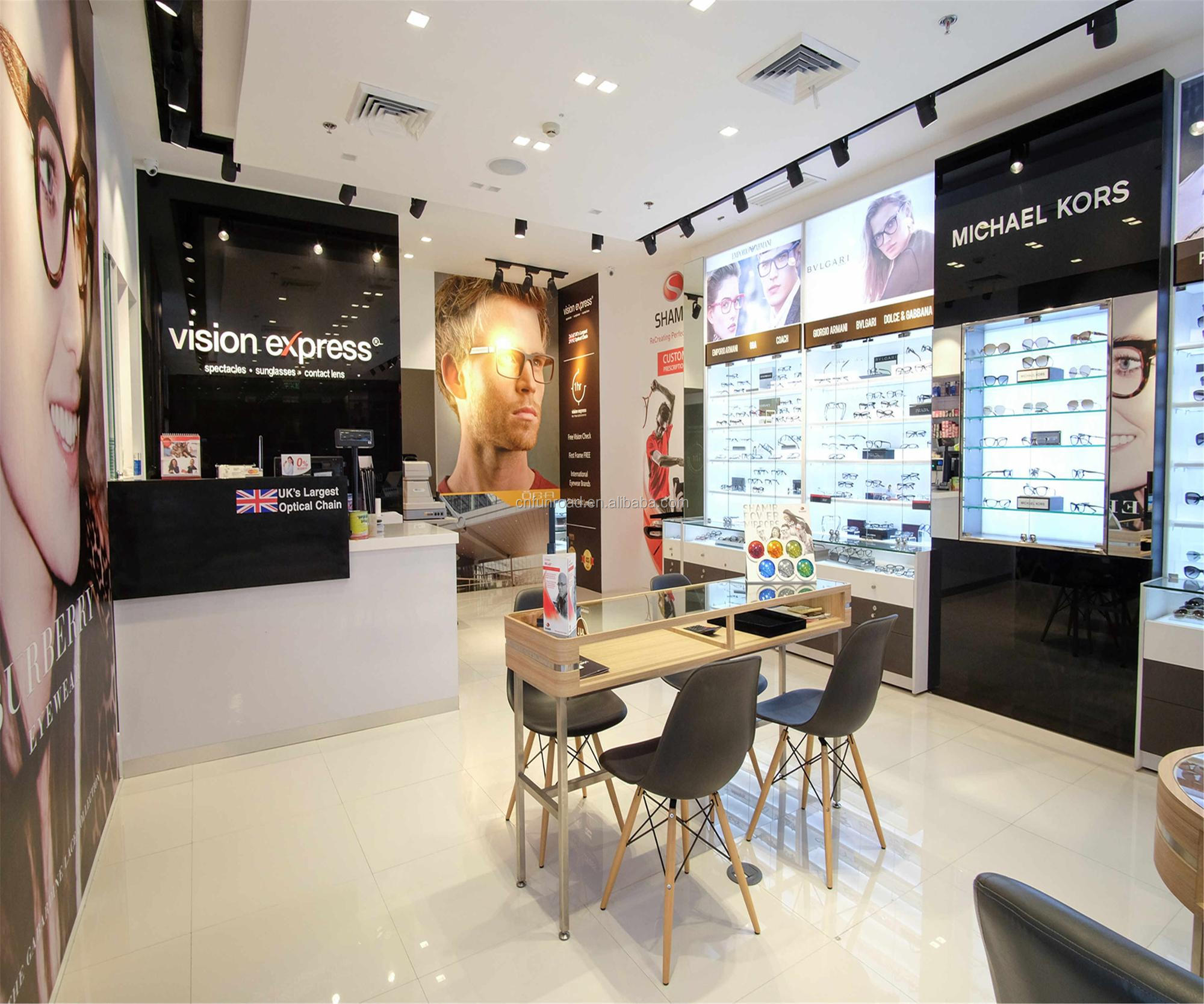 fashion customized optical store interior design with store display fixtures