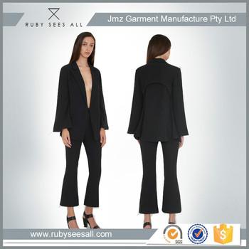 rsa customized ladies spring autumn short black coat