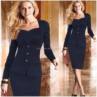 C87612A New Fashion OL Women Ladies Office Dress Clothes Knee-length Bodycon Slim Pencil Dress