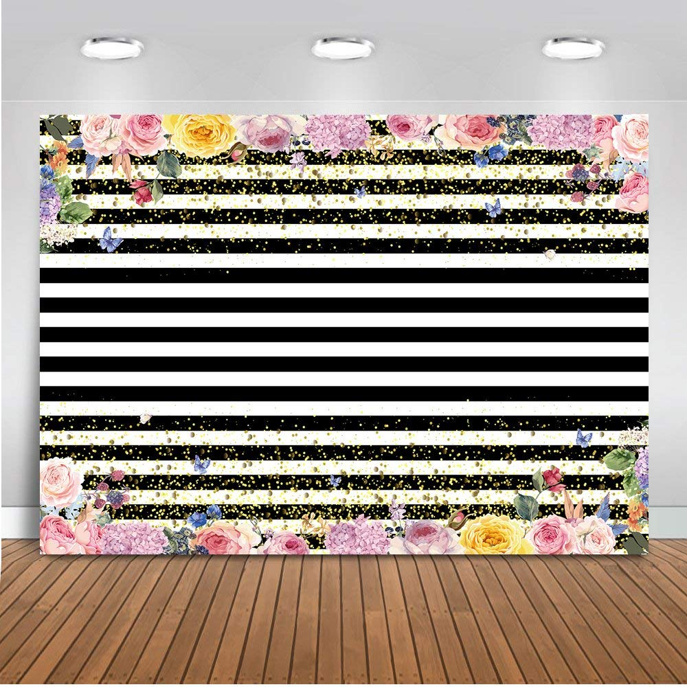 Mehofoto Black and White Stripes Backdrop God Dots Floral Photography Background 7x5ft Vinyl Wedding Birthday Party Banner Tablecloth Backdrops