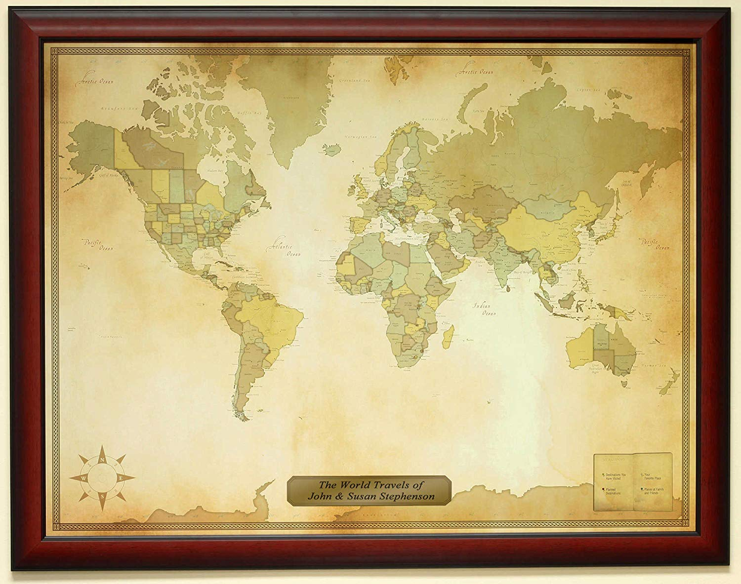 Personalized Push Pin Vintage World Travel Map with Custom Brushed Gold Plaque