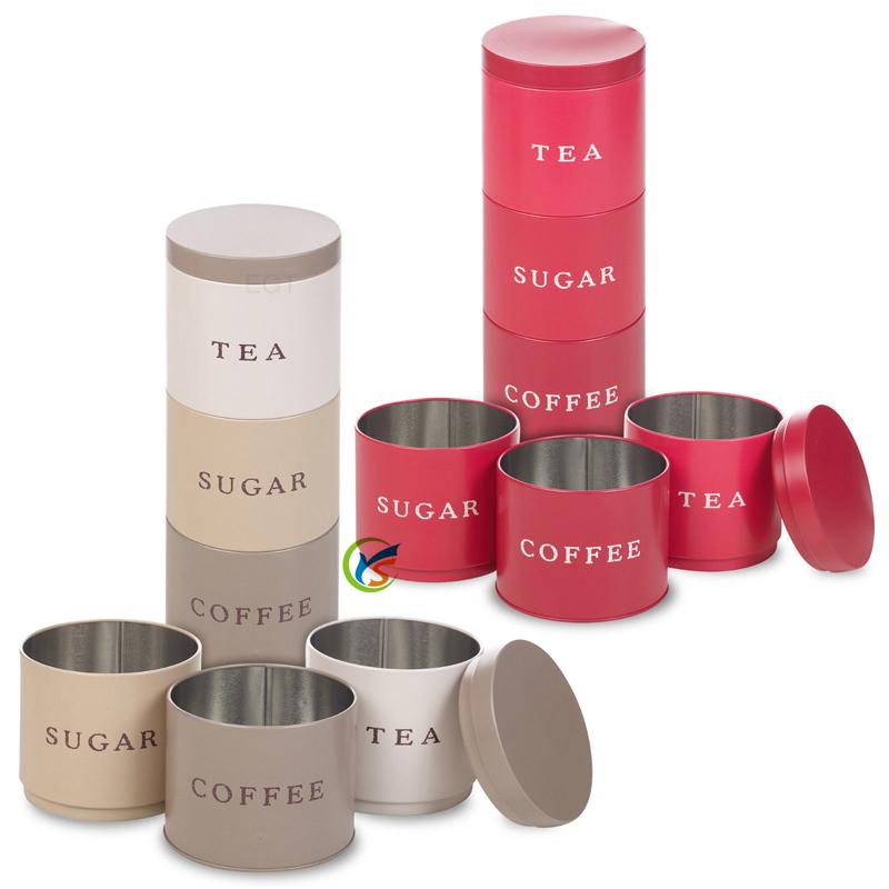3 Stackable Coffee Tea Sugar Set Metal