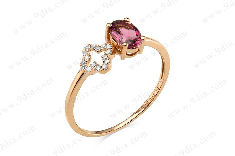 Elegant girl ring design in rose quartz wholesale gold ring