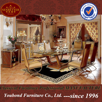 0016 European Luxury Dining Room Clic Wooden Table And Chairs Furniture