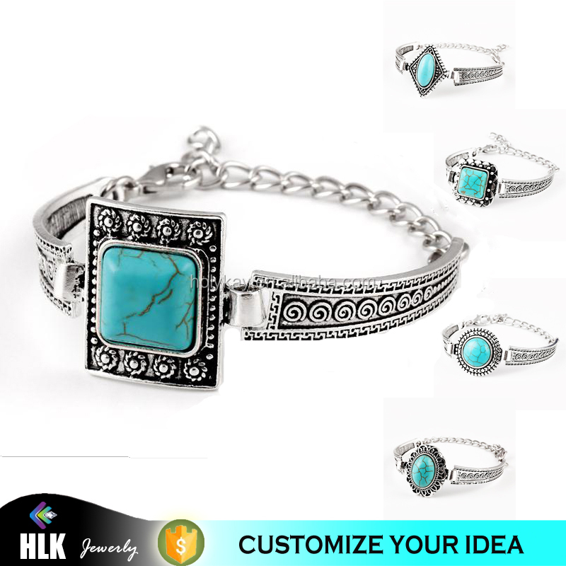 2015 Winter love trendy fashion jewelry accessories blue turquoise antique silver color women cuff bracelets