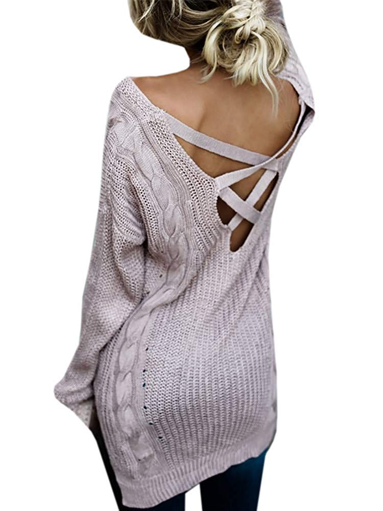 Blanycool Womens V Neck Criss Cross Pullover Long Sweater Oversized Cable Knit Sweater Dress