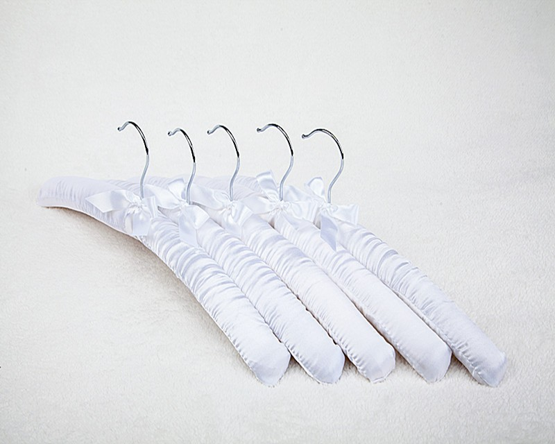 "Inspring ""Beauty"" thick Satin Padded silk coat Hanger , White , 38 x 3.5 x 13 cm"