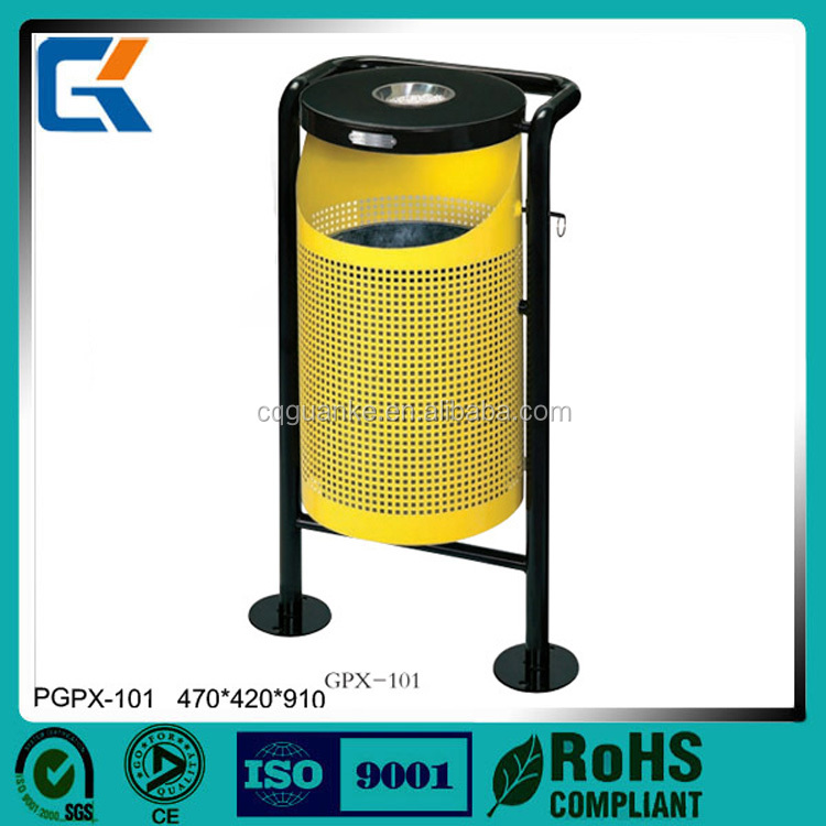 Promotional yellow normal single outdoor iron coated trash can