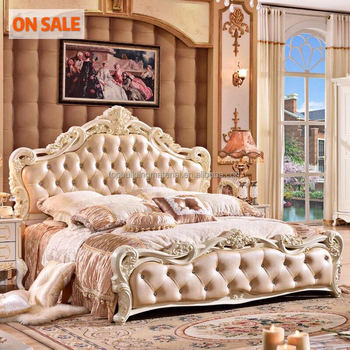 Hot selling fancy european wood curved leather bed