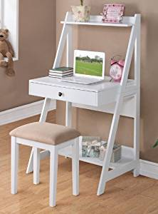2 pc White finish wood leaning wall desk with shelves and drawer with stool by Poundex