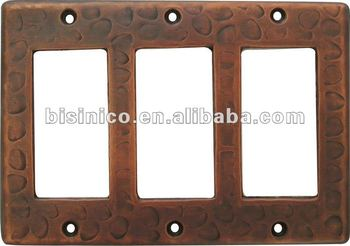 Copper Switchplate Hammered Wall Switch Plate Triple Rocker B270514
