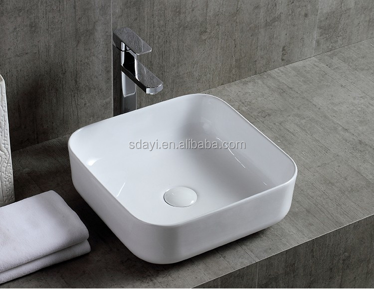 Ceramic New Design Small Size Thin Edge One Piece Bathroom Sink And