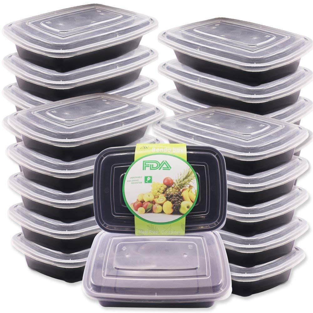 ANEWSIR [32 Pack] Meal Prep Containers 1 Compartment, Fruit, Salad, Dessert Container, Lunch Food Storage [Leak-Resistant] [Environmentally] [Reusable] [BPA Free] - Microwave, Dishwasher Safe (28 oz)