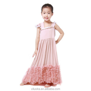 Maxi sleeveless ruffle one piece party dresses frock design for baby girl