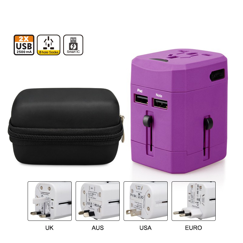 Smart EU US AUS UK Multi Plugs Converter Lan to Wifi Universal Travel Adapter, 2 FUSE Travel Charger for Travel Gift