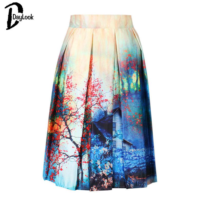 DayLook Charm Lady Casual Multi Scene Print High Waist Pleated Skater Midi Skirt High Waist Painting