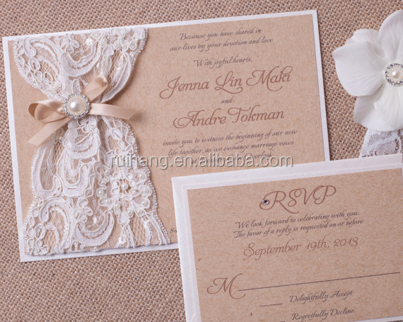 Wedding Invitations Lace And Pearl: Rustic Burlap And Lace Wedding Invitation Ivory Invitation