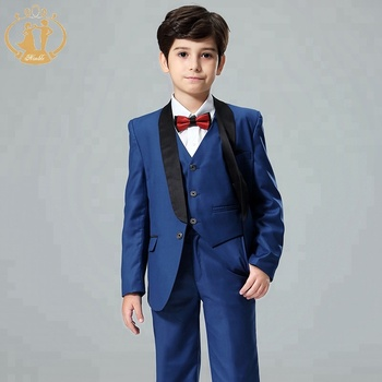2019 New Arrival splice one button blue double breast one button handsome boys party suit
