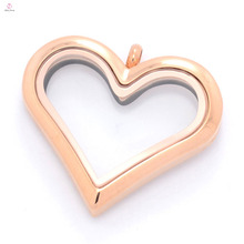 Cheap stainless steel jewlery rose gold plain glass floating charms photo locket necklace pendant