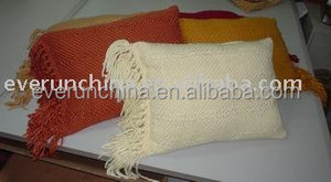 100 acrylic boucle yarn blanket and cushion cover with fringe, chunky yarn pillow