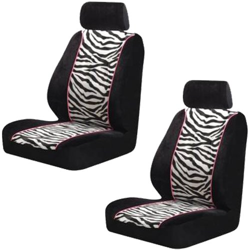 Zebra Bucket Seat Covers Pair Black White Stripes Pink Trim