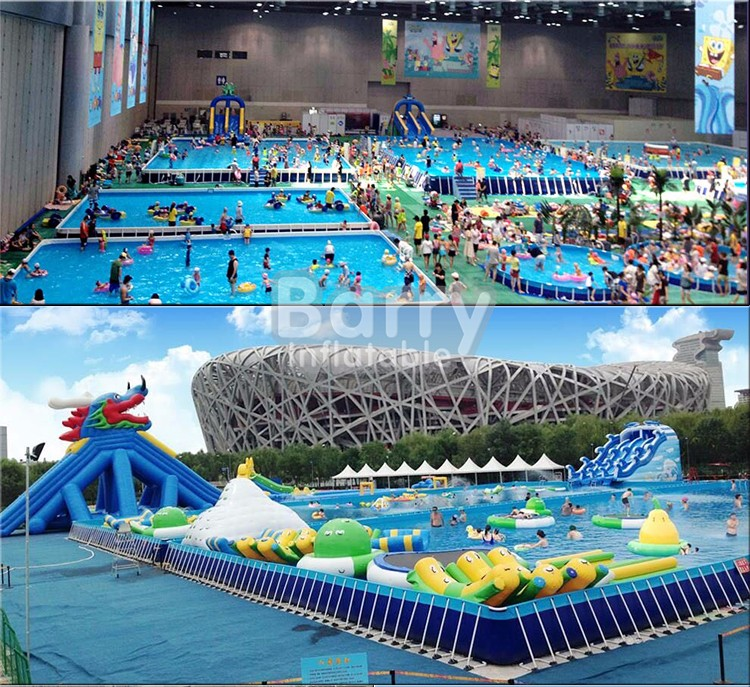 Commercial Customized Large Portable Swimming Pool With Slide And Floats