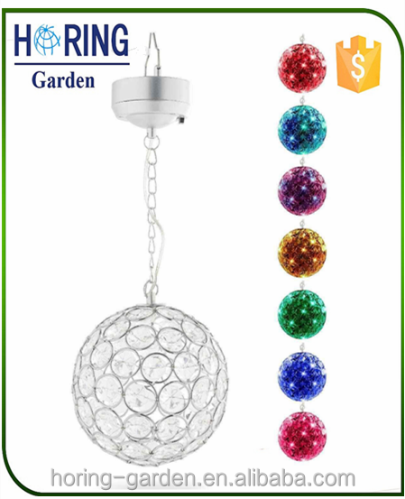 Outdoor Hanging Decorative Sparkling Crystals Gazing Ball With Solar Powered Color Changing LED Light