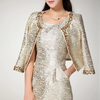 Shining beaded evening dress and jacket with 3/4 sleeve