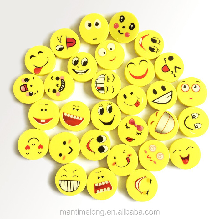 Smile Face 3d eraser ballpoint pen eraser pencil eraser