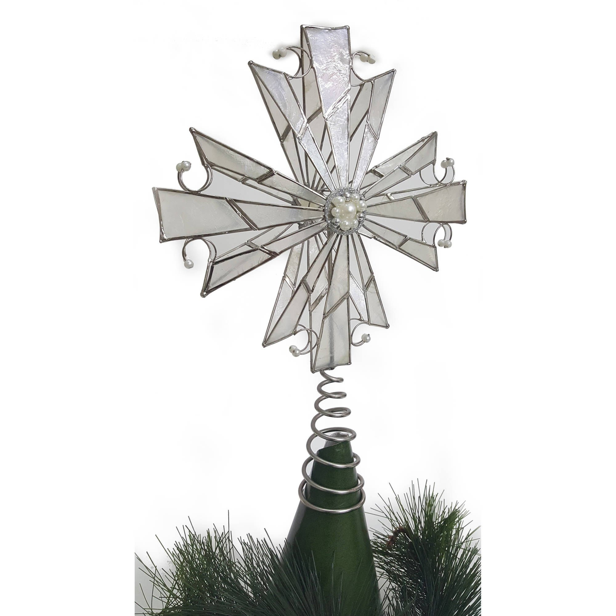 Capiz Shell, Pearlized Beads and Metal Tree Topper Silver and Natural 10.50 inches
