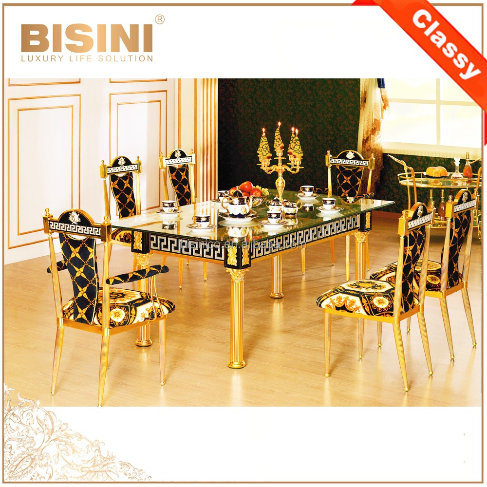 French Louis XV 18K Gold Plated Dining Room Furniture Classic Royal Brass Table With Chairs For 6 8 People